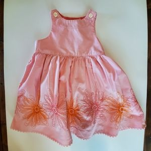 Baby Gap pink floral embroidery dress, sz 12-18 m